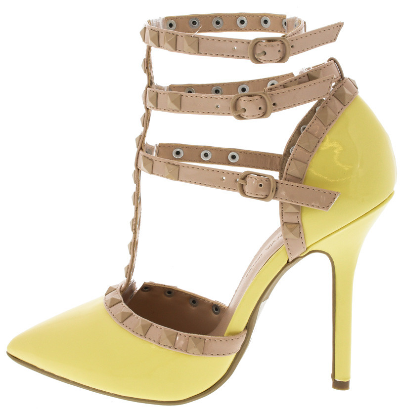 4e784ca4eb3 Light Yellow Faux Patent Leather Studded Pointed Toe Single Sole Heels
