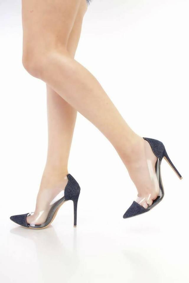 Navy Blue Denim Pointed Toe Vinyl Heels