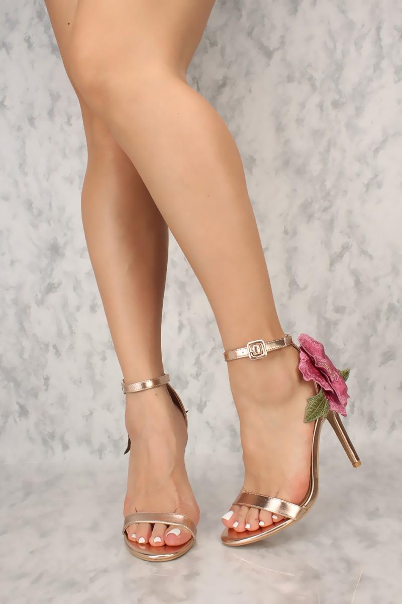 92730768e5d Gold Open Toe Ankle Strap Flower Applique Heel
