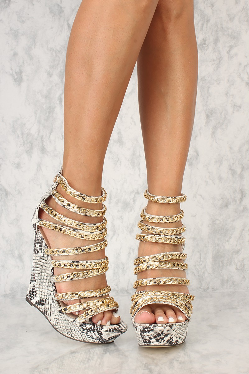 e93fa9d121e Sexy Snake Print Strappy Chain Open Toe Wedges – MyFashionMyTrends