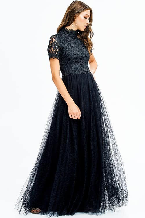 57893ab001 Black Lace Mock Neck Short Sleeve Tulle Evening Gown – MyFashionMyTrends
